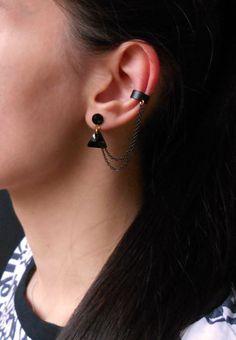 Black Ear Cuff Earrings by Maleena09 on Etsy