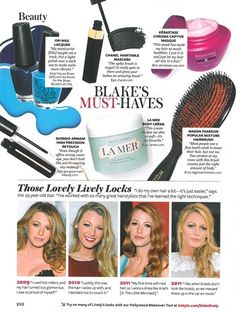 Blake Lively listed OPI's Road House Blues and No Room for the Blues as two of her beauty must-haves in InStyle's October 2012 issue.
