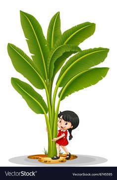 Little girl and banana tree vector image on VectorStock Tree Illustration, Landscape Illustration, Drawing For Kids, Painting For Kids, Cartoon Banana, Drawing Scenery, Fruit Crafts, Towel Animals, Birthday Charts
