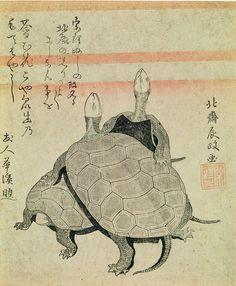 """Hokusai - """"Tortues"""". En 1798, Hokusai distribue à ses amis cette estampe pour leur faire savoir qu'il a changé de nom d'artiste et qu'il signera désormais : Sori. Le texte (en haut à gauche), rédigé par un de ses proches, souhaite que la lumière de l'étoile polaire (vénérée par Hokusai) brille plus fort encore sur lui."""