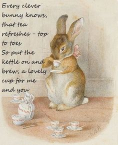 by Beatrix Potter. I adore these precious Beatrix Potter characters! Art And Illustration, Rabbit Illustration, Beatrix Potter Illustrations, Book Illustrations, Beatrice Potter, Peter Rabbit, Drinking Tea, Sipping Tea, Tea Time