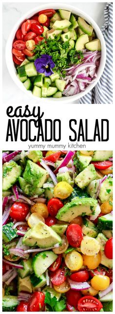 Easy avocado salad with tomatoes, cucumber, and a mustard vinaigrette dressing. This avocado salad… - comida mexicana Vegetarian Recipes, Cooking Recipes, Healthy Recipes, Vegan Meals, Avocado Recipes, Salad Recipes, Detox Recipes, Healthy Salads, Healthy Eating