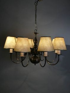 Dutch style chandelier, antique brass finish, 6kg, fitted for electricity, shades not included. (LIGC10065) Available to hire at www.farley.co.uk.