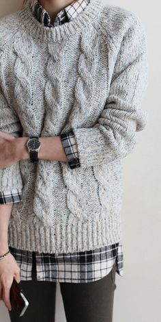 Chunky Knit Sweater Outfit, Chunky Knit Sweater Button Up Shirt Winter Pullover Outfits, Knit Sweater Outfit, Plaid Shirt Outfits, Plaid Shirts, Cute Sweater Outfits, Winter Sweaters, Cable Knit Sweaters, Cardigan Sweaters, Sweater Layering