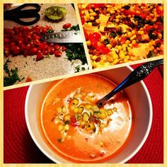 Roasted red pepper soup with lime corn salsa. YUM