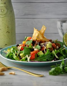 Vegan Taco Salad with Avocado Lime Cilantro Dressing | Sweet Earth Natural Foods