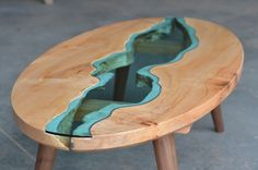 Image of elliptical river coffee table