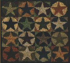 TK 024 Star Quilt $14.95 primitive punch needle stars pattern