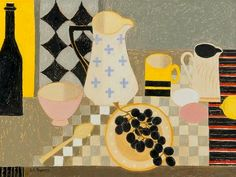 Janet A. Freeman (20th century) Black, Yellow and Pink, oil on board, signed lower left, 37.5 x 49.5cm (14 3/4 x 19 1/2 in)