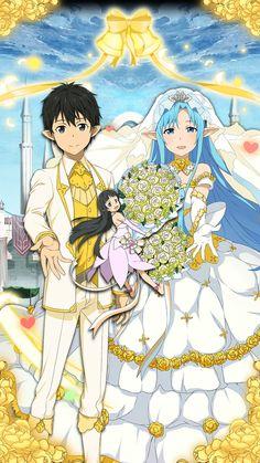 Wedding couple anime sword art online 25 new ideas Arte Online, Online Art, Sao Fanart, Kirito Asuna, Sword Art Online Kirito, Pokemon, Fantasy Beasts, Kawaii, Star Art