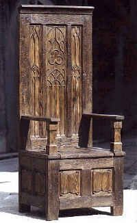 Furnishings: Medieval furnishings are what you would find in a castle. For example this throne chair with carved details would be found in a medieval home. The furnishings are usually large and rectangle shaped. Medieval Home Decor, Medieval Furniture, Gothic Furniture, Gothic Home Decor, Antique Furniture, Cool Furniture, Gothic Chair, Medieval Decorations, Renaissance