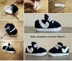 Crochet Baby Shoes Crochet Nike Inspired Baby Sneakers Free Pattern - You will love this Crochet Converse Baby Booties Pattern Free and we have included a video tutorial to show you how. Check out all the fabulous ideas now. Converse En Crochet, Crochet Baby Booties, Crochet Slippers, Baby Slippers, Knitted Baby, Baby Converse, Baby Patterns, Crochet Patterns, Doll Patterns