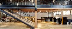 Mezzanine, open stair, steel structure and seating Open Stairs, Adaptive Reuse, Steel Structure, Construction, Bread, Architecture, Building, Design, Home Decor
