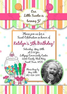 Little Sweetie Candy Themed Birthday Invitation by RazzberryMomma, $15.00