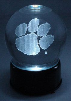Clemson Tigers Logo Laser Etched Crystal Ball - Music Box