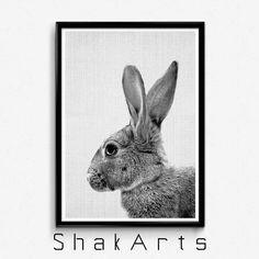 Bunny Print Bunny Art Rabbit Wall Print Nursery Rabbit by ShakArts