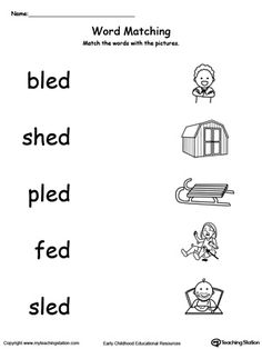 Provide your child with experience in identifying words ending in –ED by matching the words with each picture.