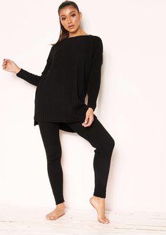 70283d61c2f Anya Black Knit Jumper Loungewear Set