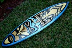 Blue Spoon Tiki Surfboard Wall Art 3 Foot Tropical by decosurf, $99.00