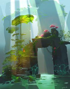 Best Ideas For Landscape Concept Art Fantasy Environment Fantasy Art Landscapes, Fantasy Landscape, Landscape Art, Landscape Design, Landscape Rocks, Contemporary Landscape, Art And Illustration, Nature Illustrations, Vector Illustrations