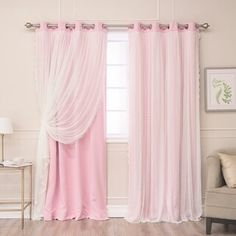 Best Home Fashion Indie Pink 63 in. L Elis Lace Overlay Blackout Curtain Panel Best Home Fashion The post Best Home Fashion Indie Pink 63 in. L Elis Lace Overlay Blackout Curtain Panel appeared first on Vardagsrum Diy. Ikea Curtains, Nursery Curtains, Drop Cloth Curtains, Floral Curtains, Rustic Curtains, Curtains Living, Velvet Curtains, Window Curtains, Pink And White Curtains
