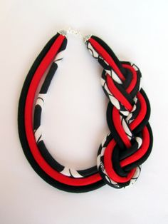 African Braided necklace  Black White Red Fashion Jewelry