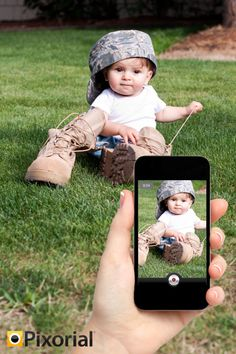 Adorable photo and video idea! Your loved ones overseas will never miss a moment back home – Pixorial is a safe, private video sharing tool that's free for military members and families!