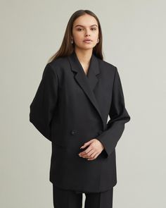 Structured and oversized blazer made from a lustrous wool blend with a luxurious finish. Oversize cut Notched lapel Two-button front Boxy cut Two front pockets Polyester / Wool Oversized Blazer, Apothecary, Designing Women, Wool Blend, Clothes For Women, Coat, Google, Jackets, How To Wear