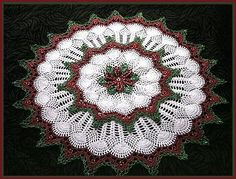 Christmas Bead Crochet Patterns for Teddy Bear Snowflake 3 Snowflakes and Poinsettia Doily by Delsie Rhoades