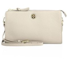 Tory Burch Women's Robinson Leather Crossbody Wallet ($225) ❤ liked on Polyvore featuring bags, wallets, french grey, tory burch crossbody, leather crossbody bags, pocket wallet, grey leather wallet and tory burch