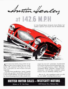 """Austin Healey advertisement - this was in the day where you raced on Sunday and drove to work on Monday.  Advertisements were updated as new """"wins"""" and """"bests in class"""" were made"""