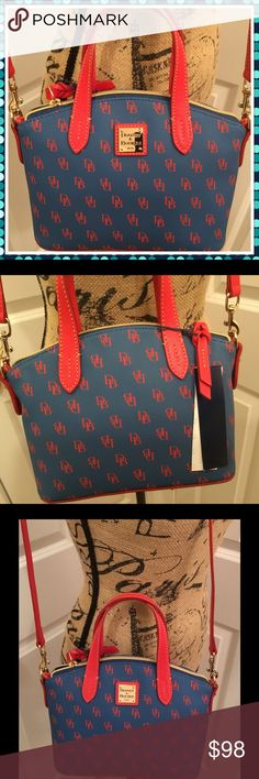 "Dooney & Bourke Gretta Ruby Crossbody Bag - NWT This is a brand new with tags Dooney & Bourke Gretta Crossbody bag.  Blue with red details.  Gold hardware.  Measures about H 6.75"" x W 4.25"" x L 9"".  Crossbody strap is about 25"". Dooney & Bourke Bags Crossbody Bags"