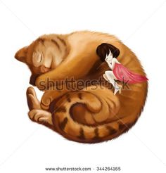 Illustration: The Big Cat Sleeps into a Ball and the Little Girl Sleeps with him Together. Realistic Fantastic Cartoon Style Wallpaper / Scene / Background / Card Design. - stock photo