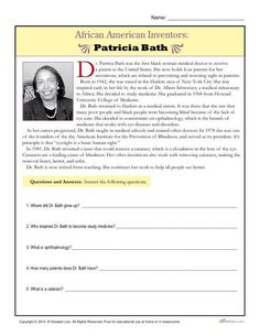 Dr. Patricia Bath is an African American inventor who holds 4 patents. Students will read about her inventions answer questions about her accomplishments. The activity is ideal for 3rd and 4th grade.