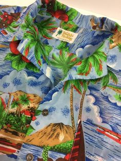 Vintage Waikiki Holiday Aloha Hawaiian Shirt Sz M Island Surfer Pointy Collar   eBay