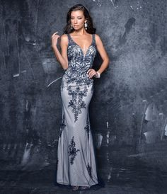 Preorder Nina Canacci 1308 Navy Embroidered Sweetheart Fitted Gown For Prom 2017