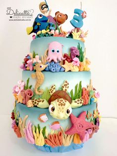 Ocean Birthday Cakes, Birthday Cake Kids Boys, Cool Birthday Cakes, Baby Cakes, Sea Cakes, Baby Girl Christening Cake, Comida Disney, Nemo Cake, Fantasy Cake