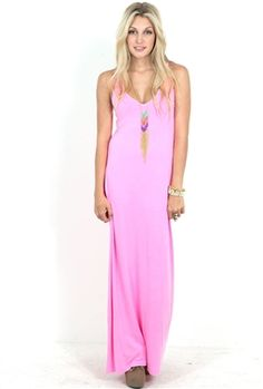Feel the Piece V-Neck Maxi Dress in Neon Pink