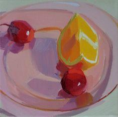 cherries, orange, glass, light, still life, oil painting demo- Karen O'Neil