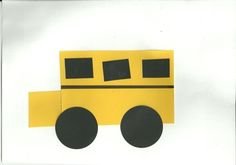 School Bus made from Shapes