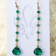 Emerald Green Quartz and genuine mini Emerald by CherishedBijou, $56.00