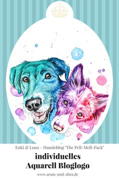 """Logo für Hundeblog """"The Pell-Mell-Pack"""", Grafik, Illustration, Design, Blogger, Blogging, Zeichnung Aquarell, bunte Hunde"""