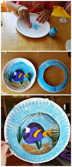 Finding Dory paper plate craft for kids to make! It looks like a porthole or aquarium. You just need to add Nemo! (preschool projects animals)