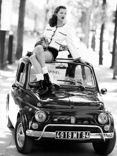 But come on, this is Kate Moss literally on top of a Fiat 500 (1958). How could I not?