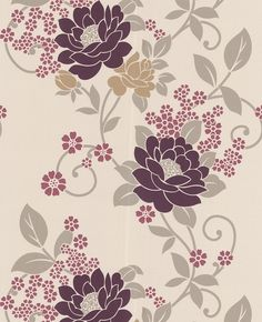 Duchess: Plum/Beige wallpaper from www.grahambrown.com - what about wallpaper on the upper half of the sunroom?