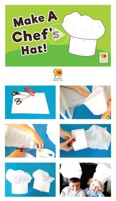How to Make a Chef's Hat – 10 Minutes of Quality Time How to make a DIY Chef's Hat for Kids This is a fun activity you can do with the kids at home. All you will need is – Scissors Stapler White paper or card stock A plastic bag Have … Chef Hats For Kids, Kids Hats, Paper Chef Hats, Diy For Kids, Crafts For Kids, Chef Party, Baking Party, Baking Gift, Kids Baking