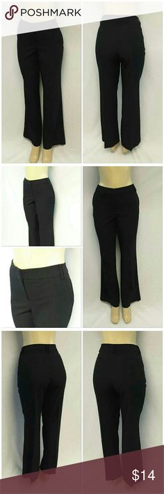 """NEW YORK N CO NWOT Black Pinstripe Pants size 12 NEW YORK N CO, NWOT, Black Pinstripe Pants, size 12 SEE MEASUREMENTS, Black on black pinstripe is tough to see even in closeup pictures, hidden button and 2 bar-n-hook waistband closure, double belt loop on each side, slit back pockets never opened, New Without Tag, machine washable, 68% polyester, 28% rayon, 4% spandex, approximate measurements: 18"""" waist laying flat, 32"""" inseam, 4"""" zipper, 11"""" rise. All Pants and Jeans are $14 Each everyday…"""