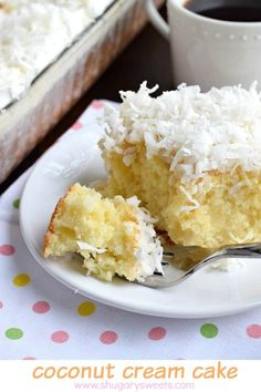 Coconut Cream Poke Cake recipe is perfect for a brunch, potluck or a sweet dessert after any meal. Light and delicious!