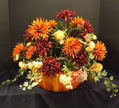 Fall Floral Arrangements   Fall Floral Arrangement - Pumpkin Centerpiece- Fall Table Decoration ...