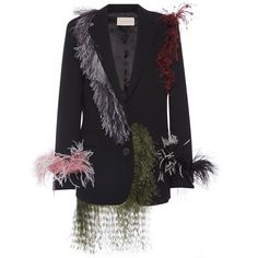 Christopher Kane Feather Embellished Oversize Blazer (17,105 CNY) ❤ liked on Polyvore featuring tops and christopher kane